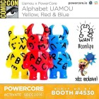 Thank you @powercore.io: Presenting Alphabet Uamou - Yellow, Red & Blue - Uamou x PowerCore exclusive for SDCC2016. We will also have some classic White and GID available. Comes with an exclusive UAMOU Vinyl Sticker that unlocks free Messaging Stickers on our new PowerCore Collector smartphone app. PowerCore is activating as a special guest of @martinhsudesign at Booth #4530. Stop on by!